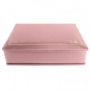 Cofanetto pelle Camelia in pelle di vitello liscio rosa - Conti Borbone - decorazione in oro - stampatello - lato