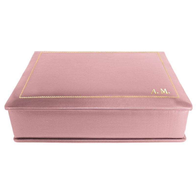 Camelia leather box -  smooth pink calfskin - Conti Borbone - flocked interior - gold decoration - block letters - side