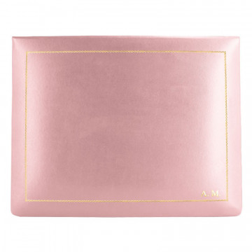 Baby pink leather box -  smooth pink calfskin - Conti Borbone - flocked interior - gold decoration - block letters - high