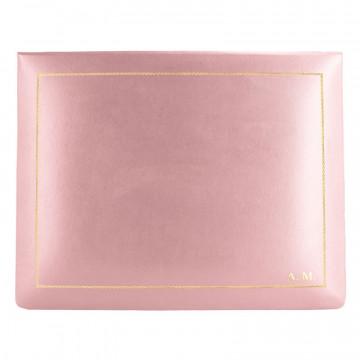 Cofanetto pelle Camelia in pelle di vitello liscio rosa - Conti Borbone - decorazione in oro - stampatello - alto