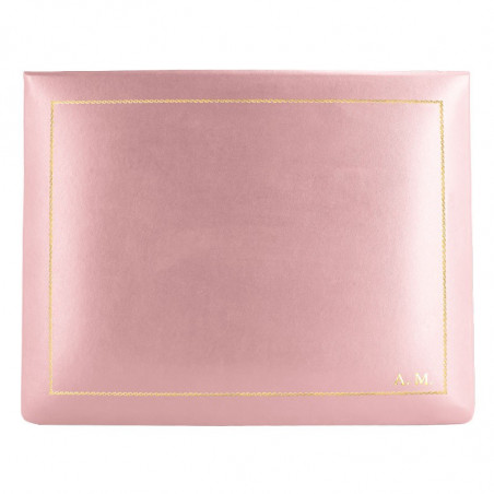 Camelia leather box -  smooth pink calfskin - Conti Borbone - flocked interior - gold decoration - block letters - high