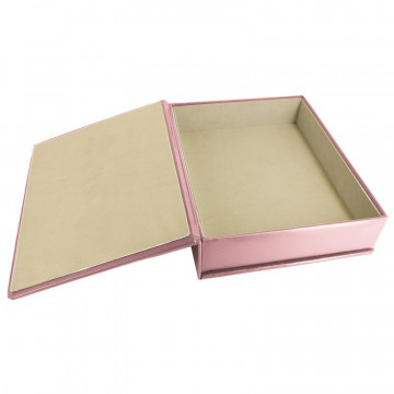 Camelia leather box -  smooth pink calfskin - Conti Borbone - flocked interior