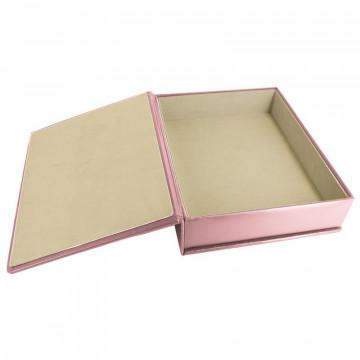 Cofanetto pelle Camelia in pelle di vitello liscio rosa - Conti Borbone - interno floccato