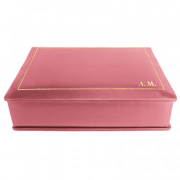 Fuchsia leather box -  smooth pink calfskin - Conti Borbone - flocked interior - gold decoration - block letters - side