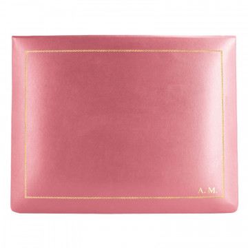 Fuchsia leather box -  smooth pink calfskin - Conti Borbone - flocked interior - gold decoration - block letters - high