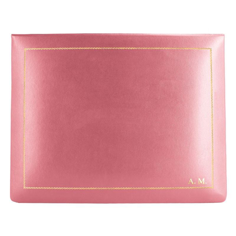 Cofanetto pelle Fuxia in pelle di vitello liscio rosa - Conti Borbone - decorazione in oro - stampatello - alto