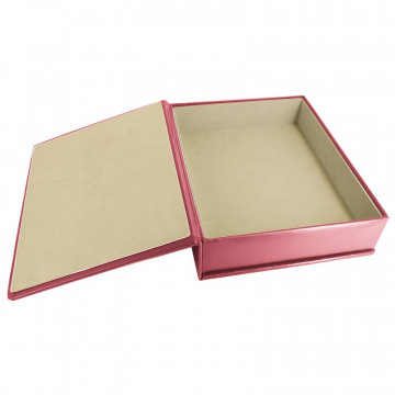 Fuchsia leather box -  smooth pink calfskin - Conti Borbone - flocked interior