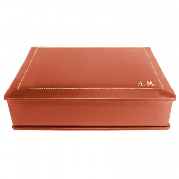 Coral leather box -  smooth red calfskin - Conti Borbone - flocked interior - gold decoration - block letters - side