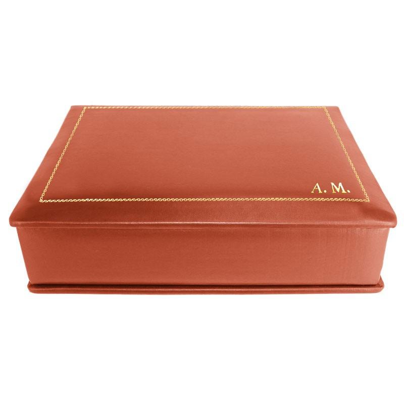 Cofanetto pelle Corallo in pelle di vitello liscio rosso - Conti Borbone - decorazione in oro - stampatello - lato