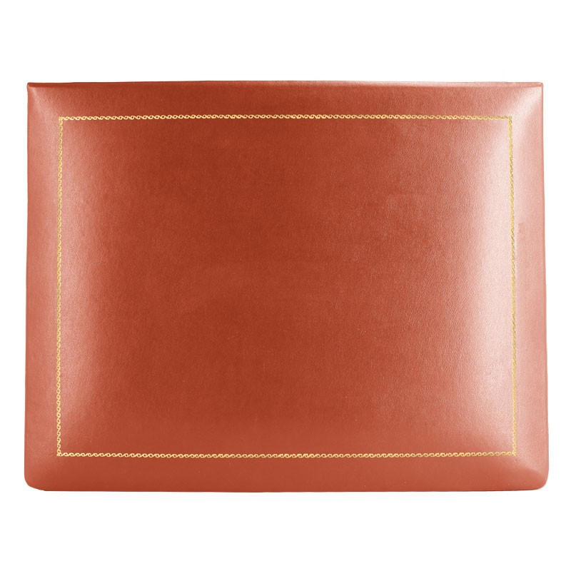 Coral leather box -  smooth red calfskin - Conti Borbone - flocked interior - gold decoration - high