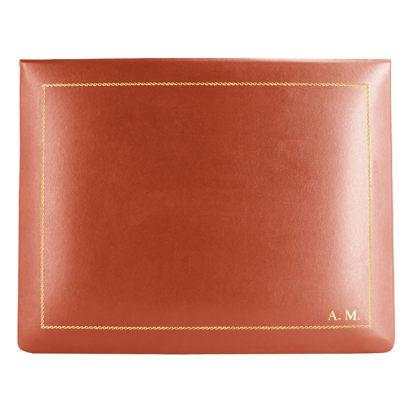 Coral leather box -  smooth red calfskin - Conti Borbone - flocked interior - gold decoration - block letters - high