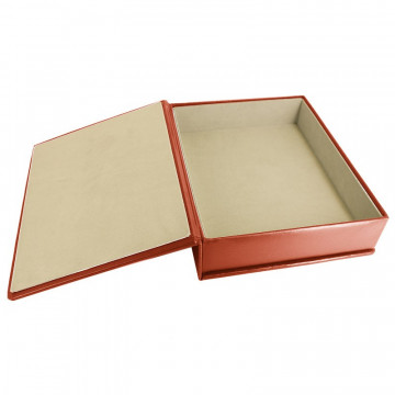 Coral leather box -  smooth red calfskin - Conti Borbone - flocked interior