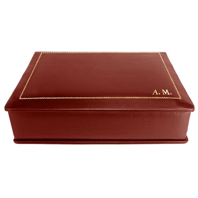Strawberry leather box -  smooth red calfskin - Conti Borbone - flocked interior - gold decoration - block letters - side
