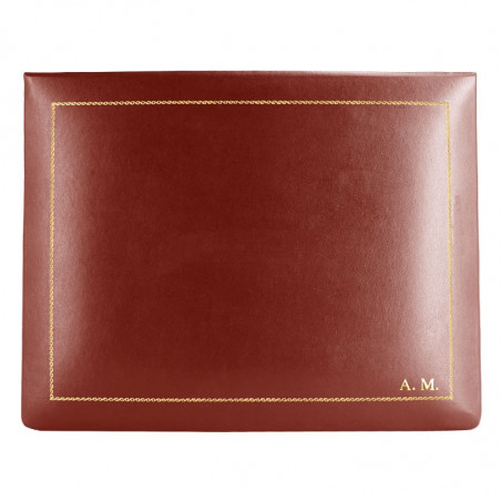 Strawberry leather box -  smooth red calfskin - Conti Borbone - flocked interior - gold decoration - block letters - high