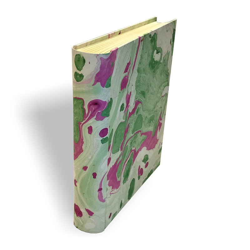 Photo album in marbled paper green, violet and white Valentina - Conti Borbone - standard spine
