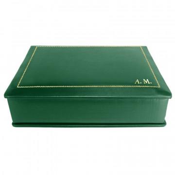 Cofanetto pelle Pino in pelle di vitello liscio verde - Conti Borbone - decorazione in oro - stampatello - lato