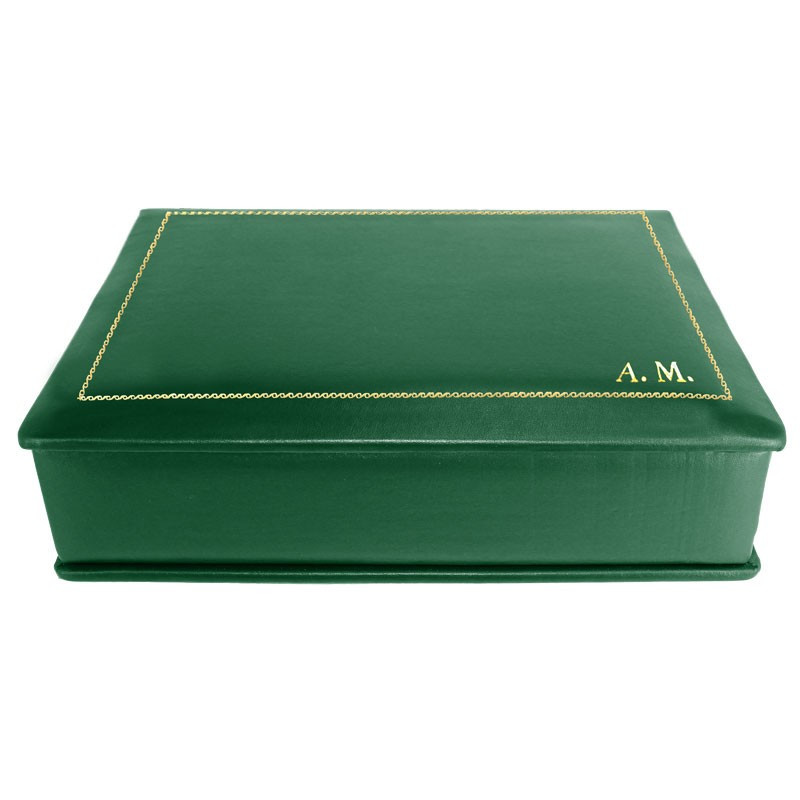 Pino leather box -  smooth green calfskin - Conti Borbone - flocked interior - gold decoration - block letters - side