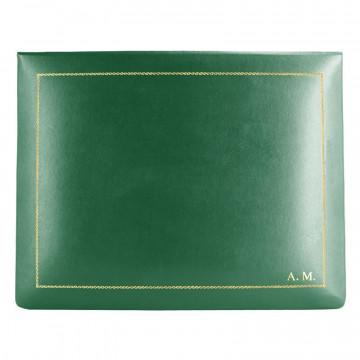 Cofanetto pelle Pino in pelle di vitello liscio verde - Conti Borbone - decorazione in oro - stampatello - alto