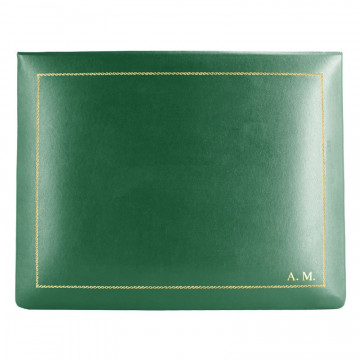Pino leather box -  smooth green calfskin - Conti Borbone - flocked interior - gold decoration - block letters - high