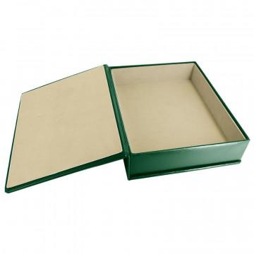 Pino leather box -  smooth green calfskin - Conti Borbone - flocked interior