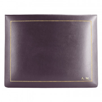 Aubergine leather box -  smooth violet calfskin - Conti Borbone - flocked interior - gold decoration - block letters - high
