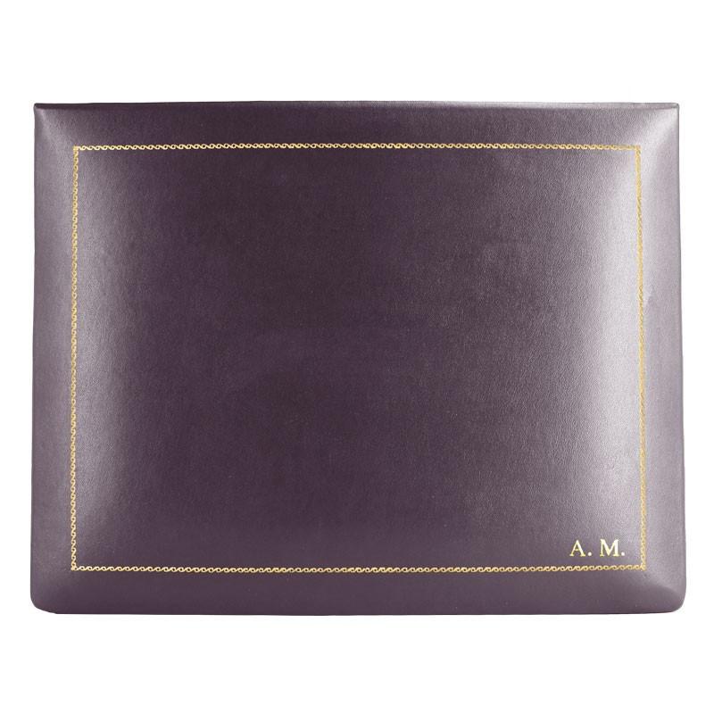 Cofanetto pelle Melanzana in pelle di vitello liscio viola - Conti Borbone - decorazione in oro - stampatello - alto