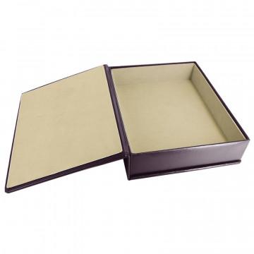 Aubergine leather box -  smooth violet calfskin - Conti Borbone - flocked interior