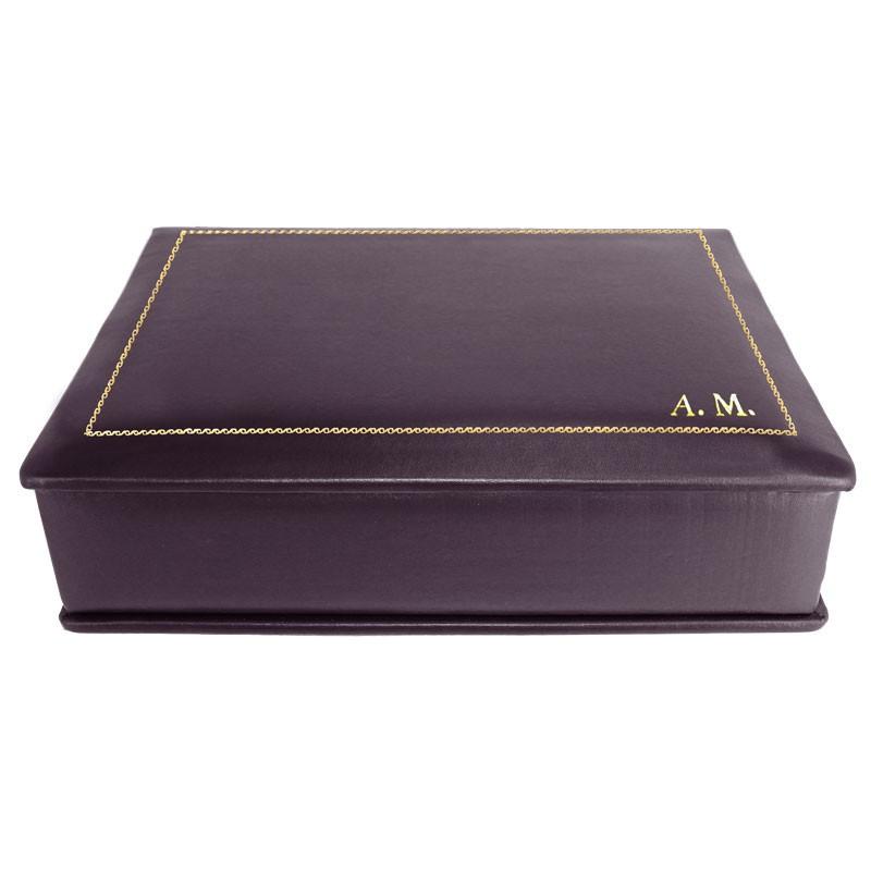 Cofanetto pelle Melanzana in pelle di vitello liscio viola - Conti Borbone - decorazione in oro - stampatello - lato
