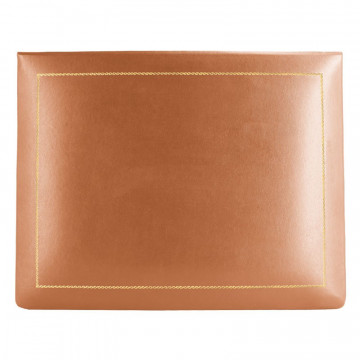Pumpkin leather box -  smooth orange calfskin - Conti Borbone - flocked interior - gold decoration - high