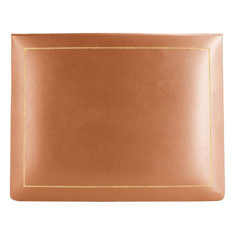 Pumpkin leather box -  smooth orange calfskin - Conti Borbone - flocked interior - gold decoration - high