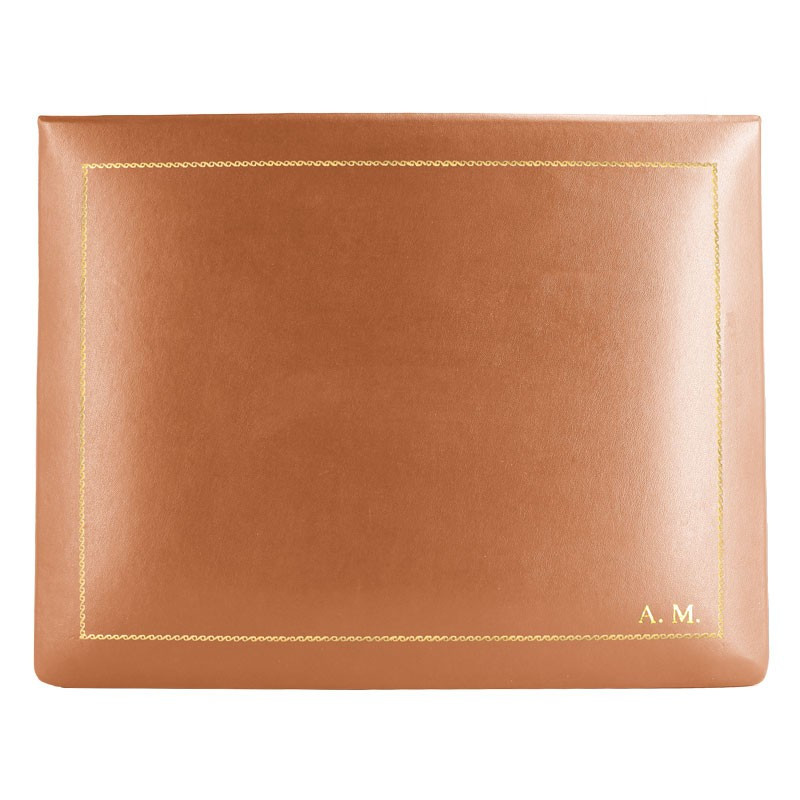 Cofanetto pelle Zucca in pelle di vitello liscio arancione - Conti Borbone - decorazione in oro - stampatello - alto