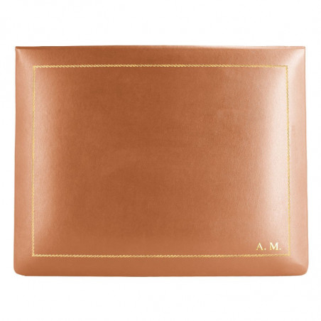 Pumpkin leather box -  smooth orange calfskin - Conti Borbone - flocked interior - gold decoration - block letters - high