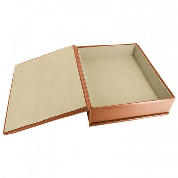 Pumpkin leather box -  smooth orange calfskin - Conti Borbone - flocked interior