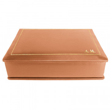 Pumpkin leather box -  smooth orange calfskin - Conti Borbone - flocked interior - gold decoration - block letters - side