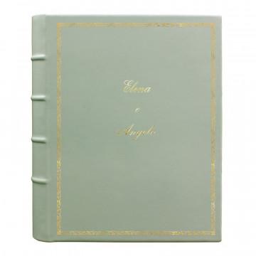 Album foto pelle Aqua - Conti Borbone - Pelle di vitello azzurro chiaro - Standard - decoro 27 - corsivo