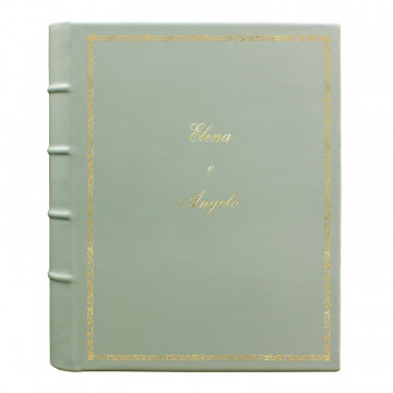 Aqua leather photo album - Conti Borbone - light blue calskin - Standard - decoration 27 - italic