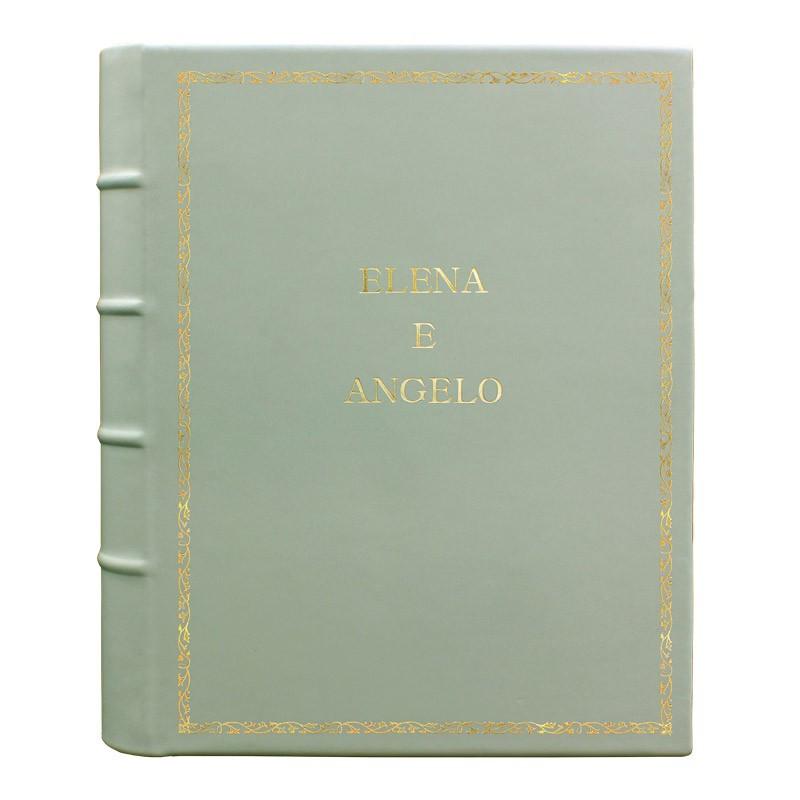 Album foto pelle Aqua - Conti Borbone - Pelle di vitello azzurro chiaro - Standard - decoro 27 - stampatello