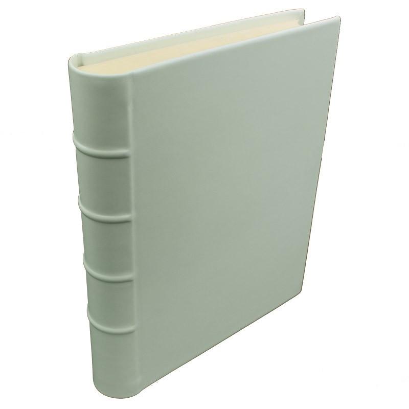 Aqua leather photo album - Conti Borbone - light blue calskin - Standard - spine