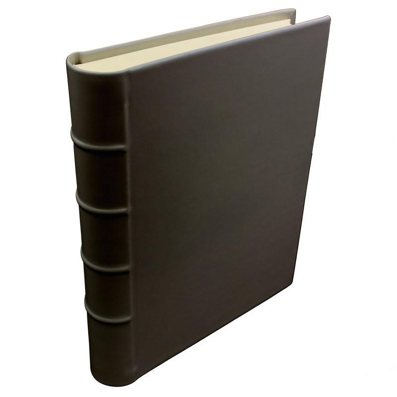 Chocolate leather photo album - Conti Borbone - brown calskin - Standard - spine