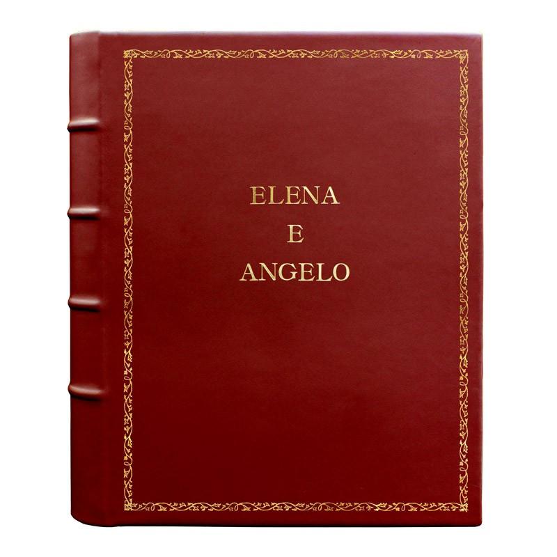 Album foto pelle Fragola - Conti Borbone - Pelle di vitello rosso - Standard - 27 - stampatello