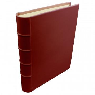 Strawberry leather photo album - Conti Borbone - red calskin - Standard - spine