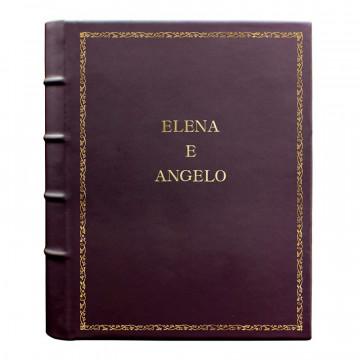 Aubergine leather photo album - Conti Borbone - violet calskin - Standard - 27 - block letters