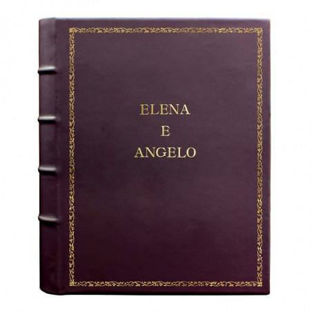 Album foto pelle Melanzana - Conti Borbone - Pelle di vitello viola - Standard - 27 - stampatello