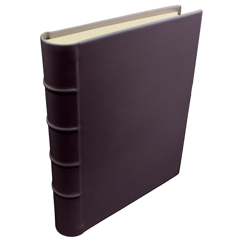 Aubergine leather photo album - Conti Borbone - violet calskin - Standard - spine