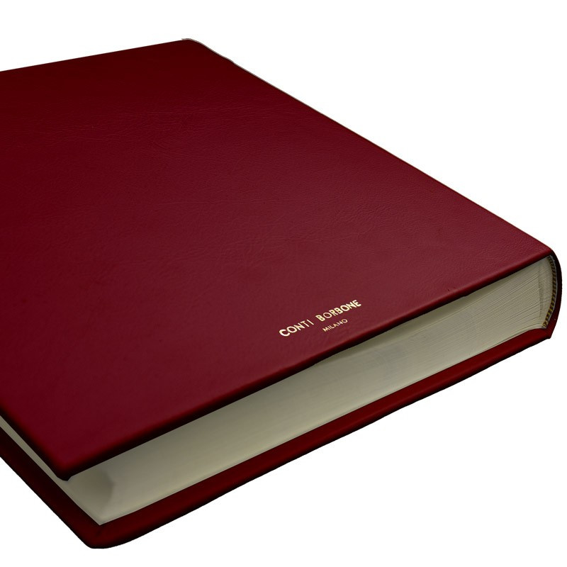 Ruby leather photo album - Conti Borbone - burgundy calskin - brand
