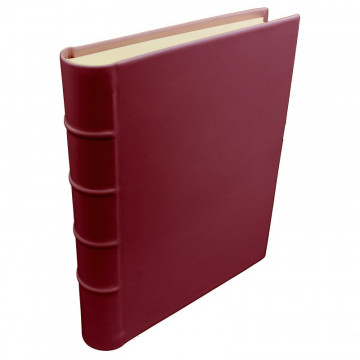 Ruby leather photo album - Conti Borbone - burgundy calskin - Standard - spine