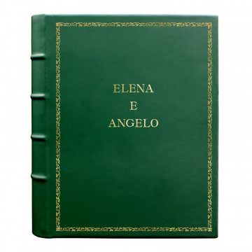 Pino leather photo album - Conti Borbone - green calskin - Standard - 27 - block letters