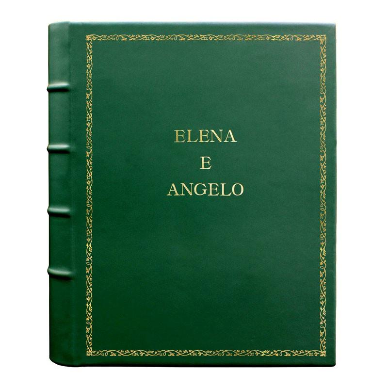 Pino leather photo album - Conti Borbone - green calskin - Standard - 27 - block letters