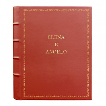 Coral leather photo album - Conti Borbone - pink calskin - Standard - 27 - block letters
