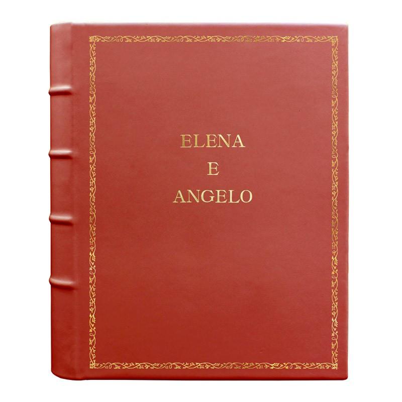 Coral leather photo album - Conti Borbone - pink calskin - Standard - 27 - block letters